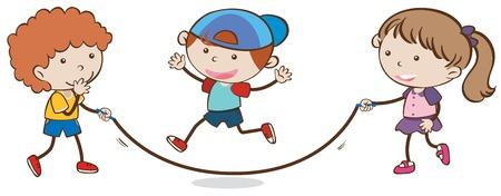 Niños saltando la cuerda en la ilustración de fondo blanco Foto de archivo - 102228796