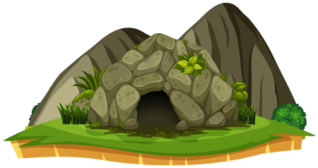 A Stone Cave on White Background illustration Vettoriali