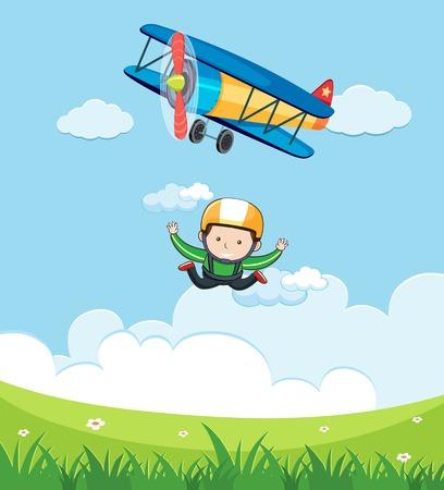 A Man Free Fall Skydiving illustration Vettoriali