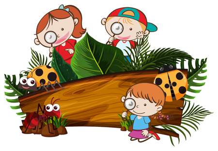 Kids Exploring the Nature Banner illustration