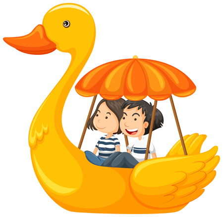 Couple riding duck pedal boat illustration