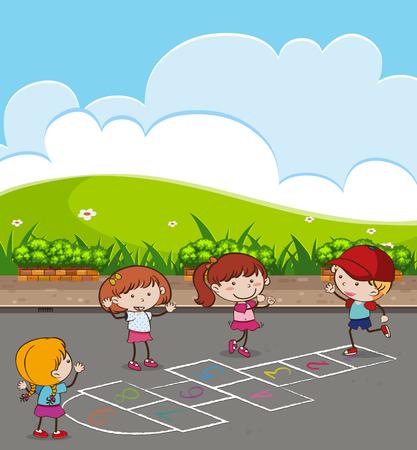 Kids Playing Hopscotch at Park illustration