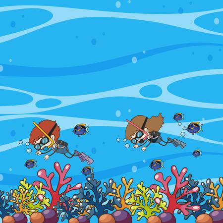Doodle Kids Underwater Scuba Dive illustration