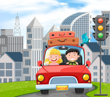 A Couple Travel on Road Trip illustration