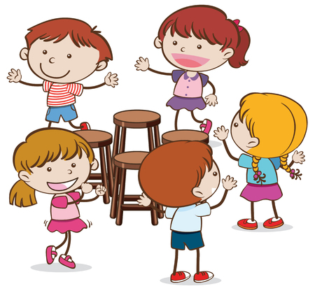 Kids Playing Musical Chairs on  White Background illustration