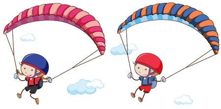 Doodle Kids Parachute on Sky illustration Vettoriali