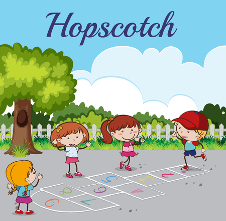 Kid Playing Hopscotch at the Park illustration