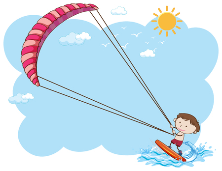 A Boy Kitesurfing in Summer illustration 写真素材 - 102228882