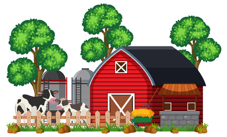 A Barn and Farm on White Background illustration