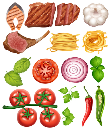 Food and Recipe on White Background illustration