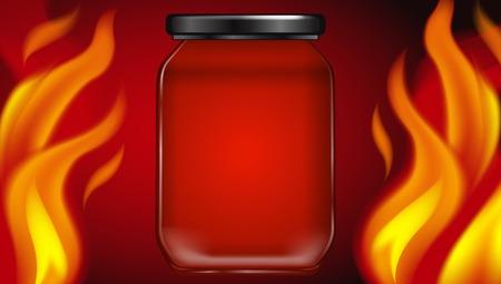 Hot Fire Jar on Red Background illustration