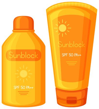 A Set of Sun Cream illustration Illustration