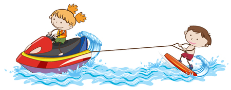 Doodle Kids Wakeboarding at the Ocean illustration