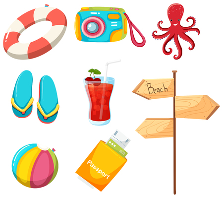 A Set of Summer Beach Element illustration Stock Illustratie