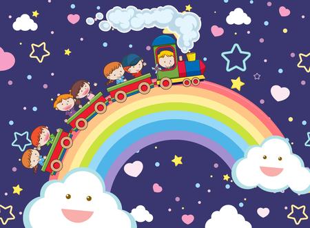Kids Taking a Train over the Rainbow illustration Stock Illustratie