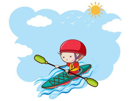 A Boy Kayaking on Sunny Day illustration