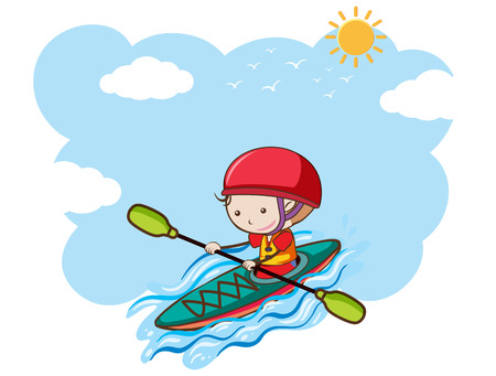 A Boy Kayaking on Sunny Day illustration