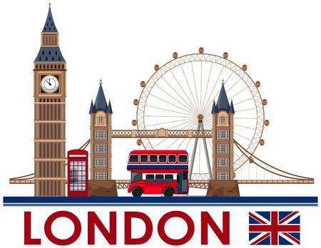 London Landmark on White Background illustration