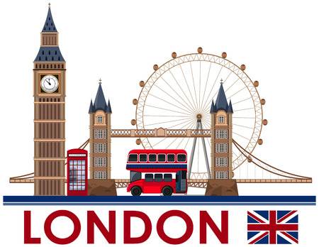 London Landmark on White Background illustration