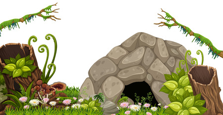 A Stone Cave in Nature illustration