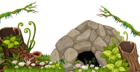 Una cueva de piedra en la ilustración de la naturaleza