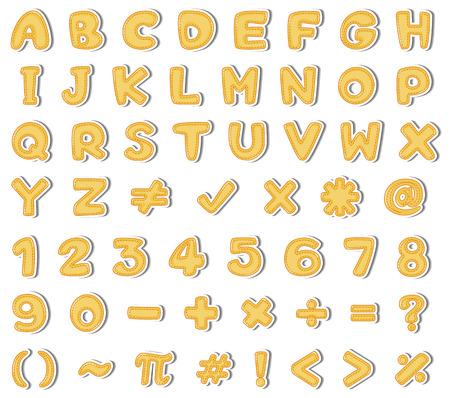 Yellow English Alphabet and Number on White Background illustration Illustration