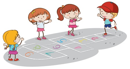 Kids Playing Hopscotch on White Backgrounf illustration Çizim