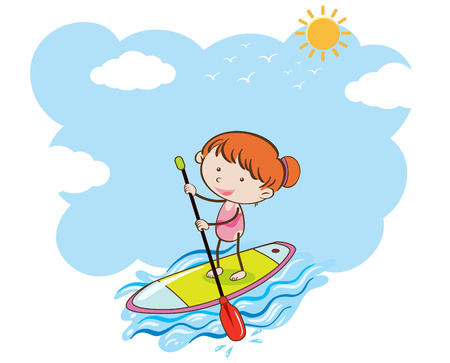 A Girl Doing Stand Up Paddle Board illustration Illustration