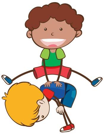 Kids Playing Leapfrog on White Background illustration