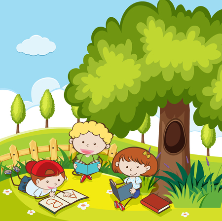 Students Reading a Book in the Park illustration
