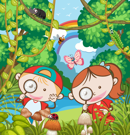 Kids Research in the Forest illustration