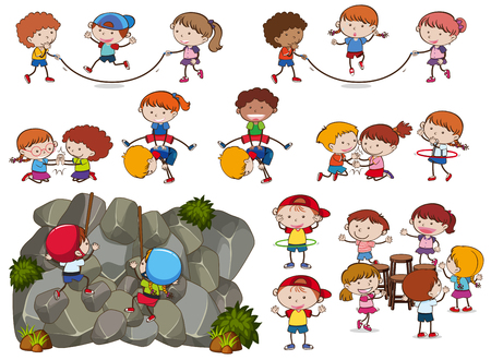 Kids and Activities on White Background illustration