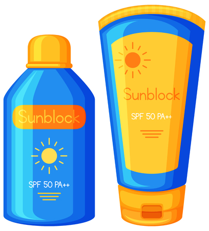Bottle of Sunblock on White Background illustration