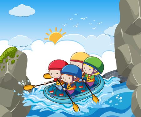 川のイラストでラフティング子供たち