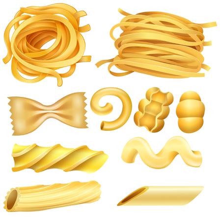 Type of Italian Pasta on White Background illustration Illustration