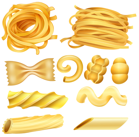 Type of Italian Pasta on White Background illustration Ilustração