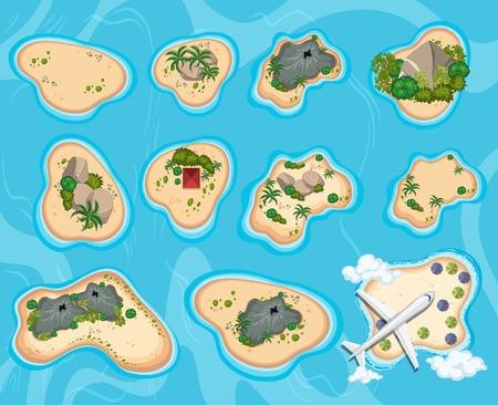 A Bird Eye View of Island illustration Illustration