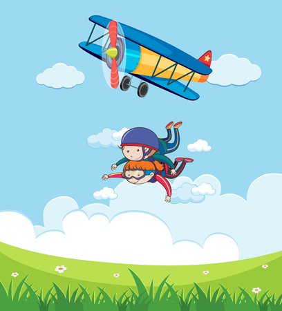 Tendon Skydiving with Beautiful Landscape illustration Ilustracja