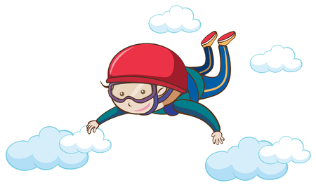 A Man Free Skydiving on Sky illustration