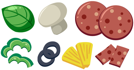 A Set of Pizza Toppings illustration Illustration