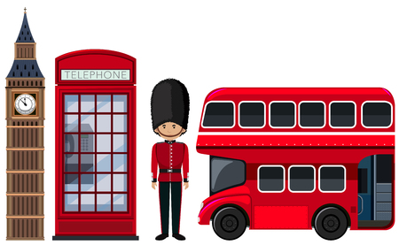 An British Travel Element on White Background illustration Illustration