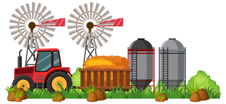 A Farming Scene and Tractor illustration Illustration