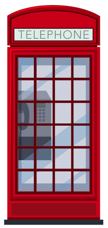 A Red Telephone Booth on White Background illustration