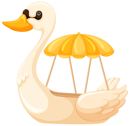 A Cute swan boat illustration