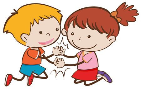 Happy Doodle Boy and Girl Playing Patty Cake illustration 向量圖像