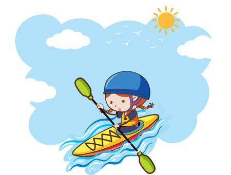 A Girl Kayaking on Sunny Day illustration  イラスト・ベクター素材