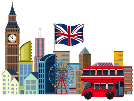 An British Travel Element on White Background illustration Stock Illustratie