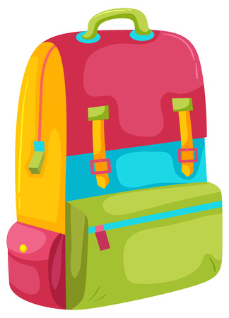 A Colourful Backpack on White Background illustration