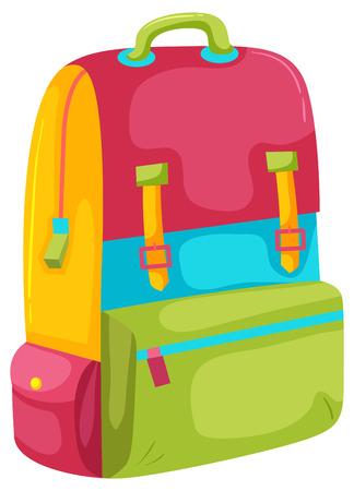 Una mochila colorida en la ilustración de fondo blanco Ilustración de vector