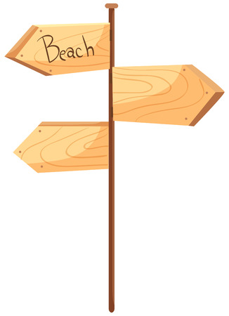 A Wooden Signboard on White Background illustration
